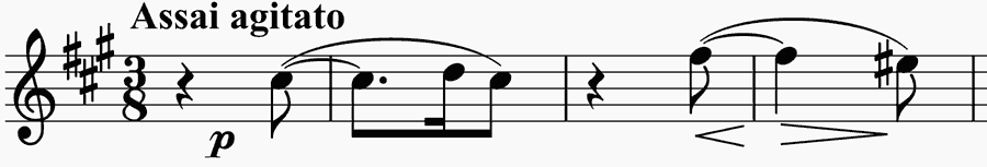 rhythmic trick starts the second movement