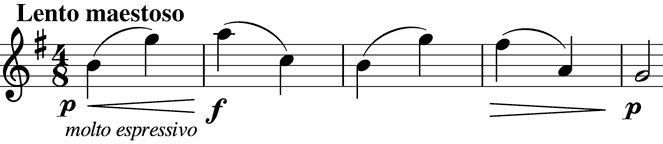 simple theme based on rising and falling intervals of a sixth
