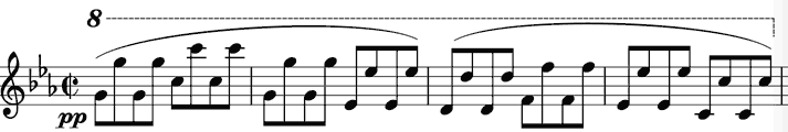 rapid repeated quavers in octaves on the piano