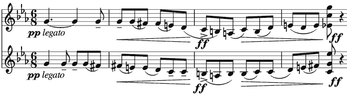 echoing, parallel descending scales one note apart