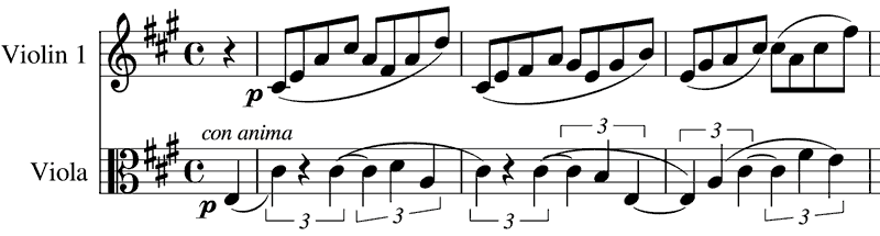 first viola sings the triplet theme against simple quavers in the first violin