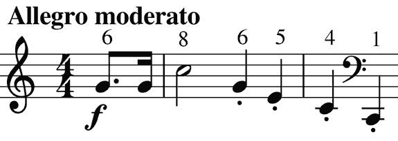 harmonic notes of the natural horn in F