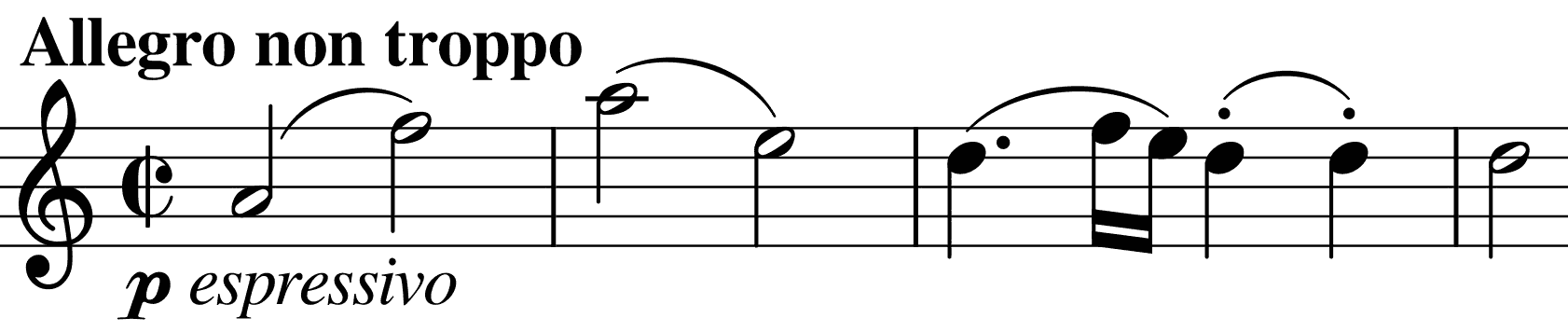 opening minims of the second quartet