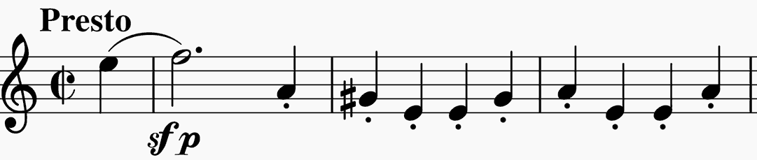 opening Presto of Beethoven's original 'Kreutzer' violin sonata