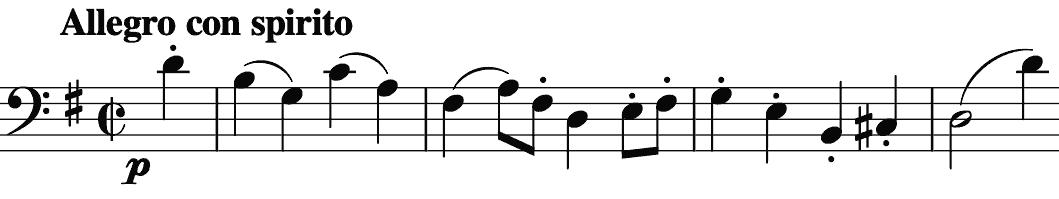 piano single line of the cello's phrase